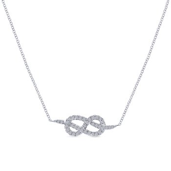 14K White Gold Eternal Love Infinity Pendant Necklace