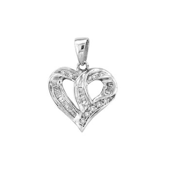 14kt White Gold Womens Round Diamond Small Heart Love Pendant 1/4 Cttw