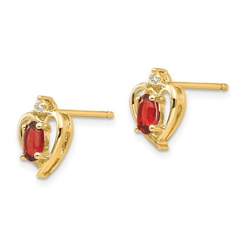 14k Garnet and Diamond Heart Earrings