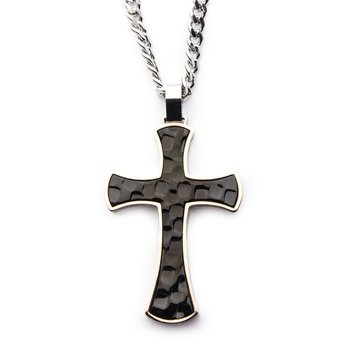 Steel Tri-Tone Hammered Cross Pendant