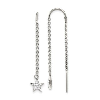 Stainless Steel Polished with Preciosa Crystal Star Threader Earrings