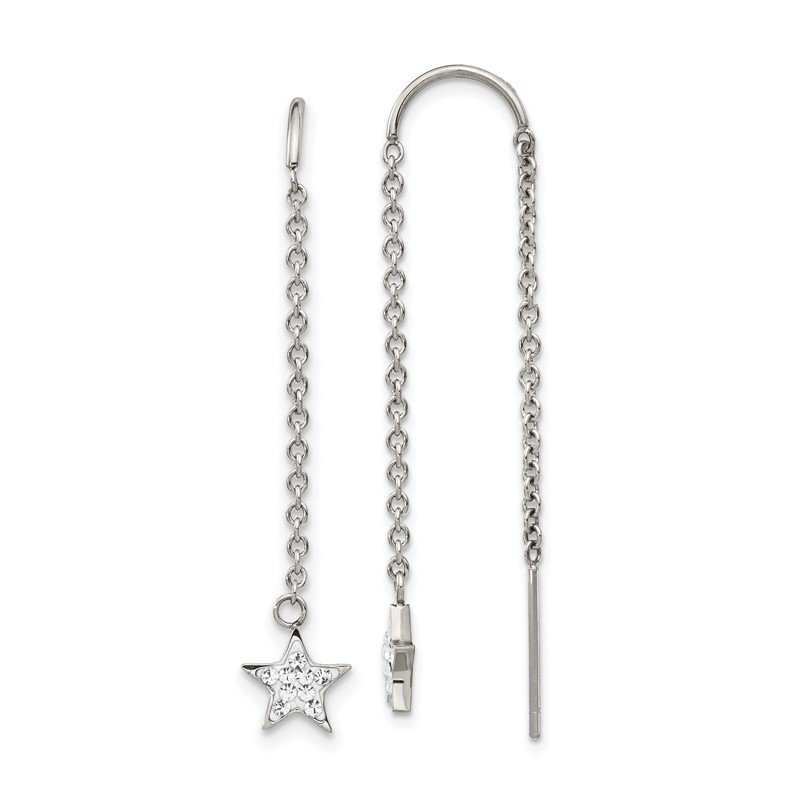 Chisel Stainless Steel Polished with Preciosa Crystal Star Threader Earrings