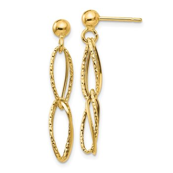 14k Gold Polished Textured Post Dangle Earrings