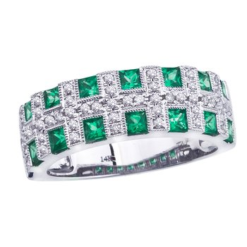 14k White Gold Emerald Checkerboard Ring