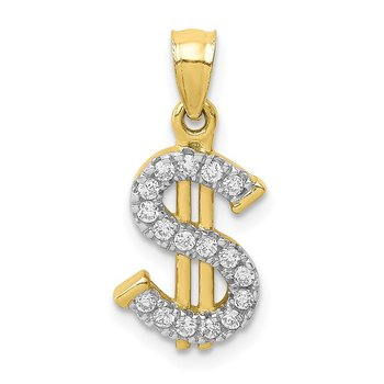 10K CZ Dollar Sign Pendant