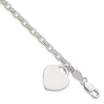 Sterling Silver 1.9mm Engraveable Heart Charm Bracelet