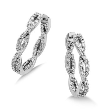 Pave set Diamond Twisted Inside/Out Hoops in 14k White Gold (1 ct. tw.) GH/SI1-SI2