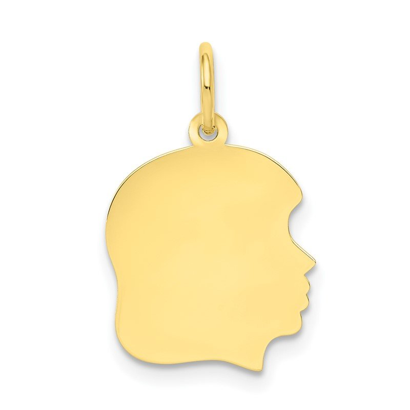 Quality Gold 10K Plain Medium .018 Gauge Facing Right Engravable Girl Head Charm