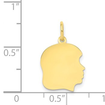 10K Plain Medium .018 Gauge Facing Right Engravable Girl Head Charm