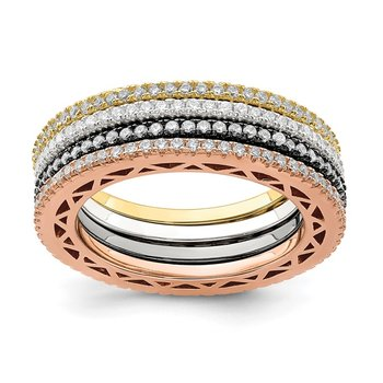 Sterling Silver & Rose, Gold, & Black-tone CZ 4 Band Set