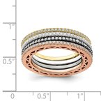 Quality Gold Sterling Silver & Rose, Gold, & Black-tone CZ 4 Band Set