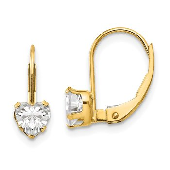 14k Madi K CZ Heart Leverback Earrings