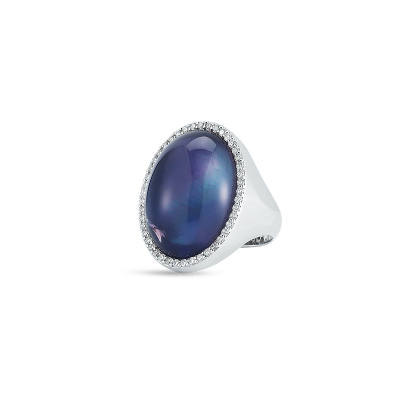 Roberto Coin Ring With Diamonds, Amethyst And Mother Of Pearl