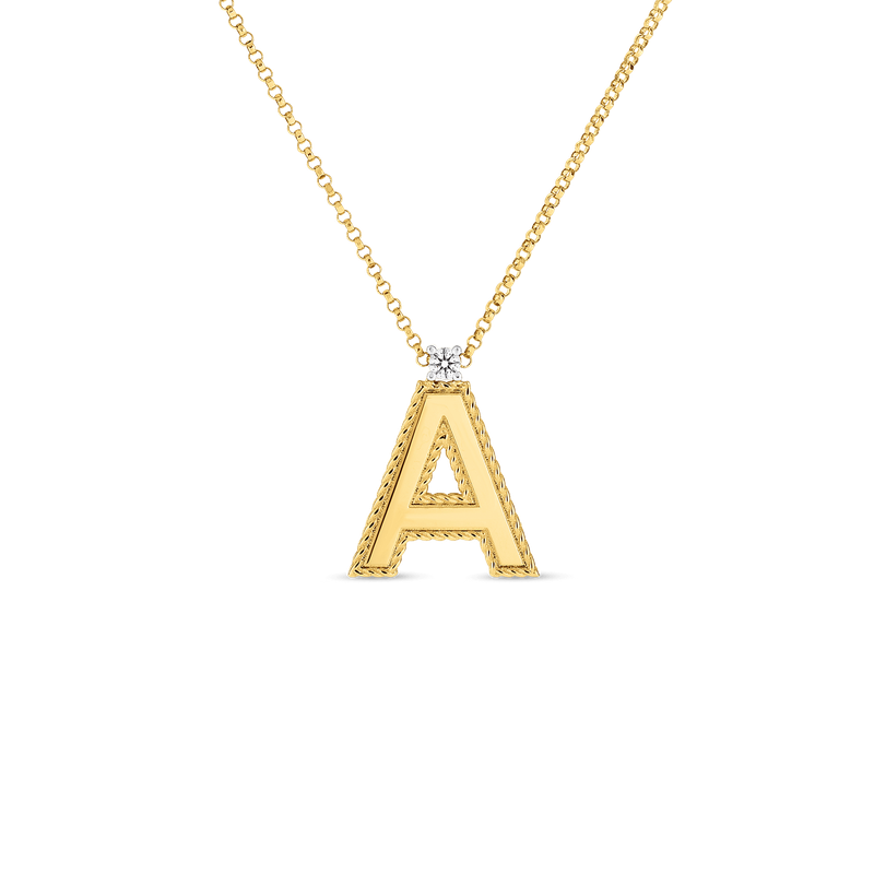 Roberto Coin 18Kt Gold Block Letter Pendant A