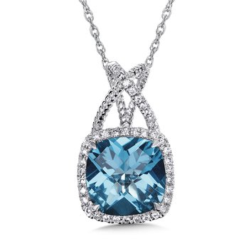 London Blue Topaz & Diamond Pendant in 14K White Gold