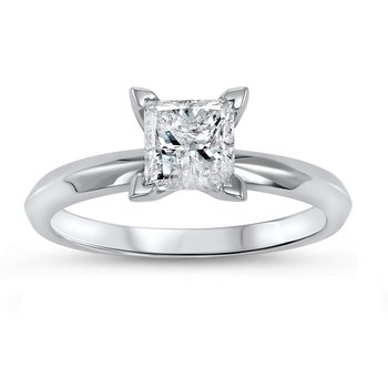 14k Princess Cut Diamond Solitaire Ring 1/2 ct