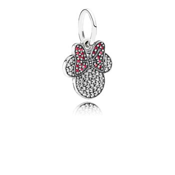 Disney, Sparkling Minnie Icon Charm, Clear & Red CZ