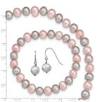 Quality Gold Sterling Silver Pink/Grey 7-8mm FW Cultured Potato Pearl 3 Piece Gift Set