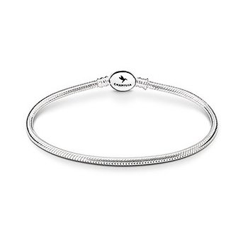 Silver Oval Snap Snake Chain Bracelet   7.9 in