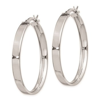 Sterling Silver Rhodium Plated 4.25x35 Hoop Earrings