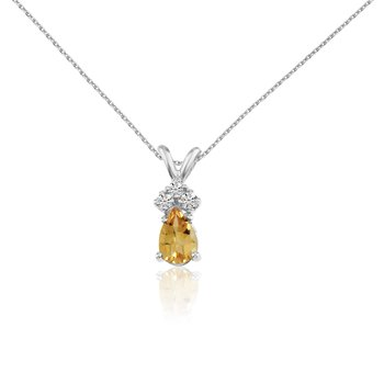 14k White Gold Citrine Pear Pendant with Diamonds