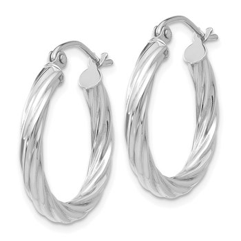 10k White Gold Twist Polished Hoop Earring