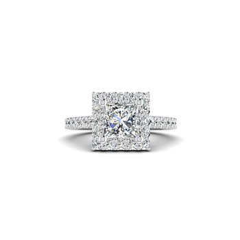Princess Cut Diamond Halo Design Engagement Ring