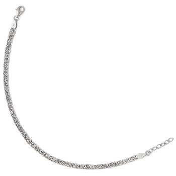 Leslie's Sterling Silver Textured Three Strand w/1in ext. Anklet