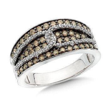 Pave set, Overlaid Link Design Cognac and White Diamond Fashion Ring in 10k White Gold (3/4 ct.tw.)