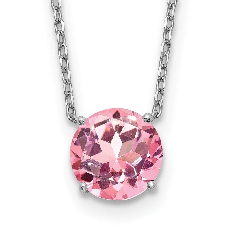 J.F. Kruse Signature Collection Sterling Silver RH-pltd with 2in ext Light Pink Swarovski Crystal Necklace