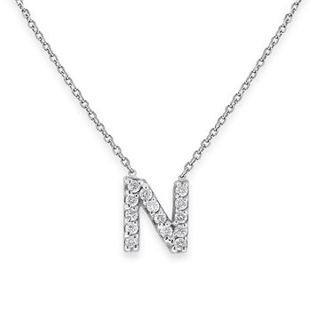 Diamond Bitty Block Initial N Necklace