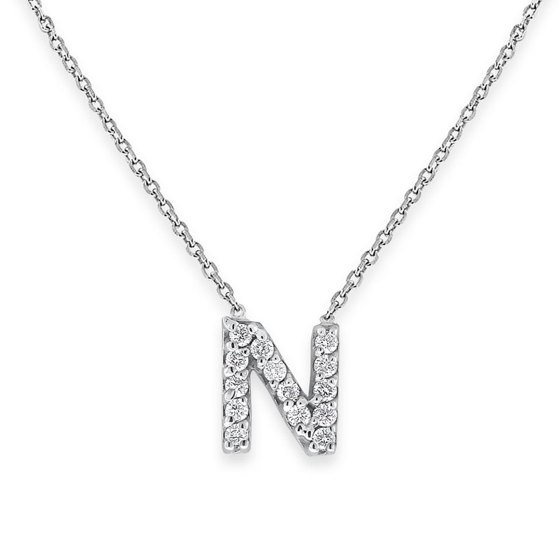 KC Designs Diamond Bitty Block Initial N Necklace