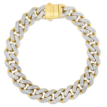 14K Gold 11.5mm White Pave Lite Miami Cuban