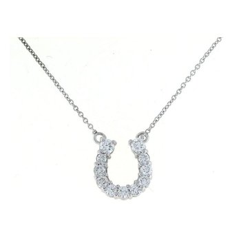 18Kt Gold Medium Horseshoe Pendant With Diamonds