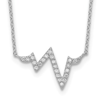 Sterling Silver Rhodium-plated CZ Heartbeat w/2in ext. Necklace