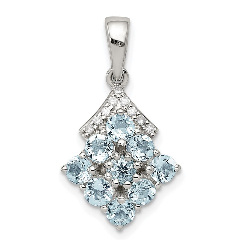 Quality Gold Sterling Silver Rhodium Plated Diamond & Aquamarine Pendant