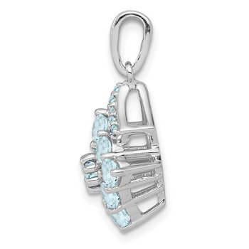 Sterling Silver Rhodium Plated Diamond & Aquamarine Pendant