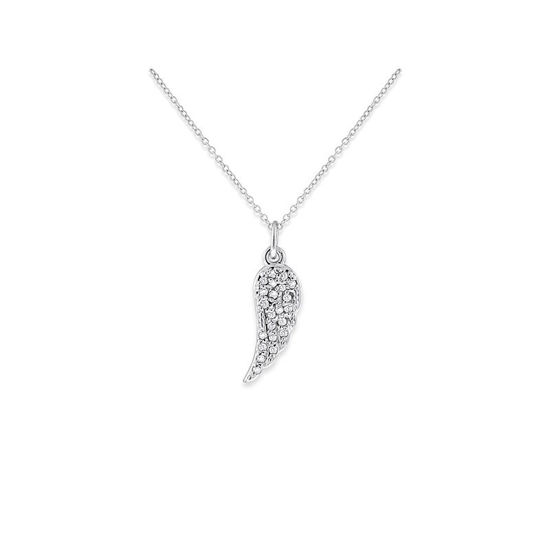 KC Designs Diamond Small Wing Necklace in 14k White Gold with 22 Diamonds weighing .07ct tw