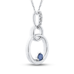 Essentials 10K White Gold 1/10 Ct Blue and White Diamond Fashion Pendant with Chain