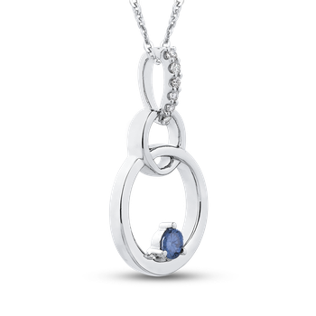 10K White Gold 1/10 Ct Blue and White Diamond Fashion Pendant with Chain