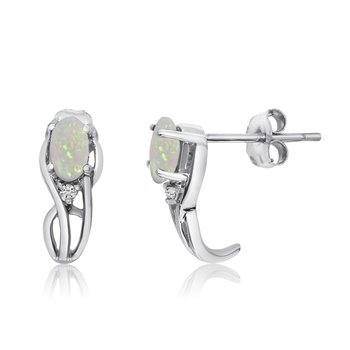 14K White Gold Curved Opal and Diamond Earrings
