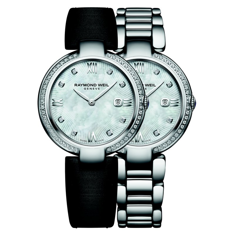 Ladies Quartz Date Interchangeable Bracelet Watch, 32mm Steel 57 diamonds