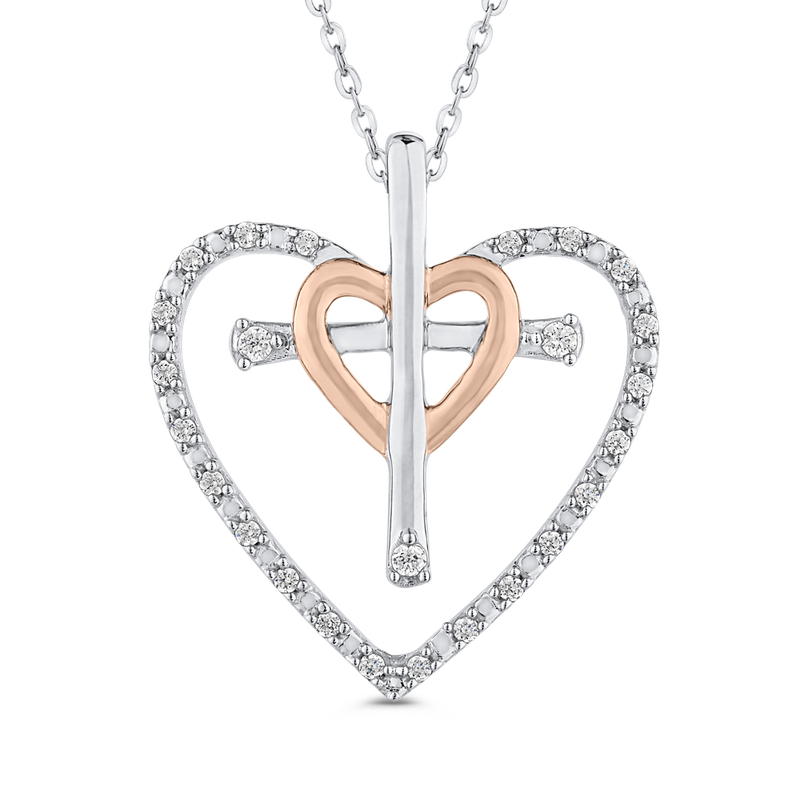0.14 ct White Diamond Cross in Heart Pendant with Chain