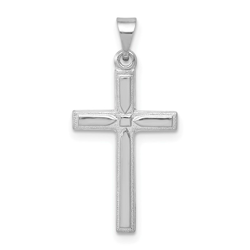 Quality Gold 14k White Gold Hollow Cross Pendant