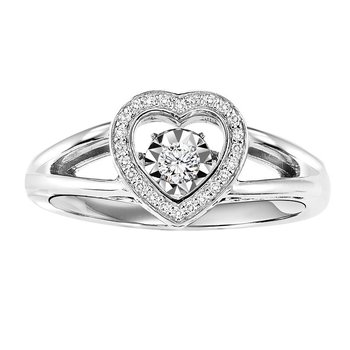 Silver Diamond Rhythm Of Love Ring 1/6 ctw