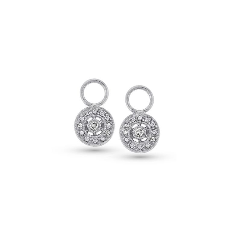 KC Designs Diamond Circle Drop Earring Charms in 14k White Gold with 26 Diamonds weighing .14ct tw.