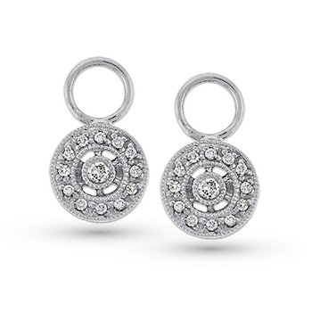 Diamond Circle Drop Earring Charms in 14k White Gold with 26 Diamonds weighing .14ct tw.