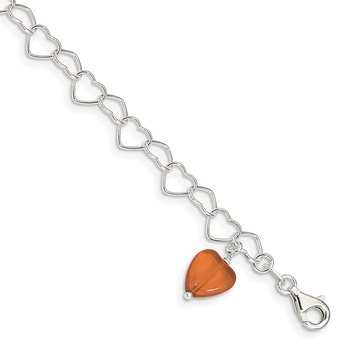 Sterling Silver Link Orange Synthetic Crystal Stone Heart Anklet