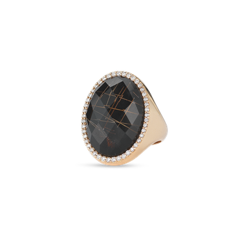 Ring With Diamonds, Quartz And Onyx