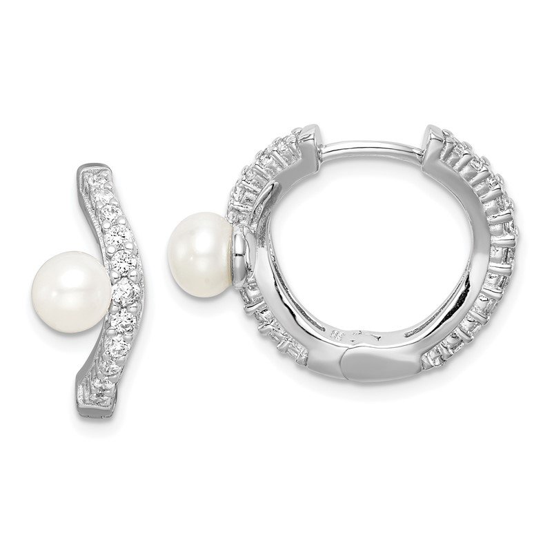 Lester Martin Online Collection Sterling Silver Rhod-plat 5-6mm White Button FWC Pearl CZ Hoop Earrings